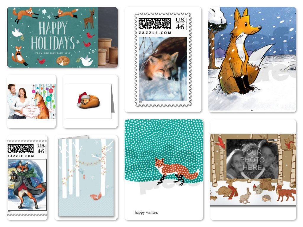 Fox Woodland Animal Holiday Cards & Postage Stamps