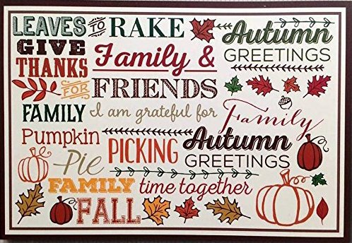 Give Thanks Autumn Fall Greetings Paper Placemats