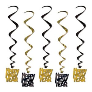 Black and Gold Happy New Year Whirls