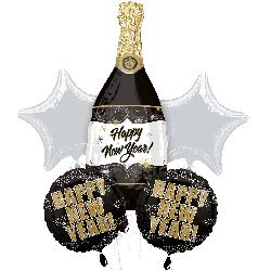 Champagne Wishes New Year Balloons - Happy New Year Balloon Bouquet
