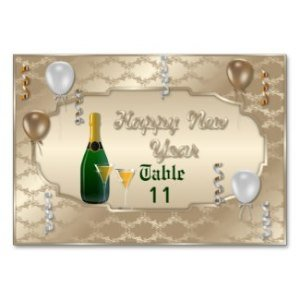 Happy New Year Table Number card