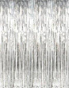 Metallic Silver Foil Fringe Curtain