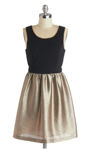 ModCloth Black and gold shimmery dress