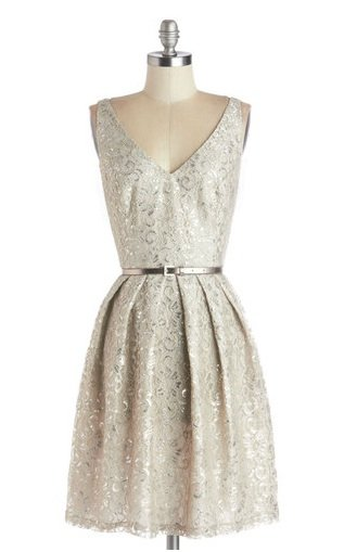 ModCloth Silver Party Dress