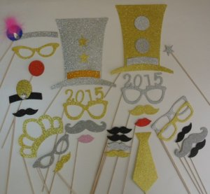 New Years 2015 Glasses Photo Booth Props Mustache on a Stick Party Favors 2 2015 Glasses