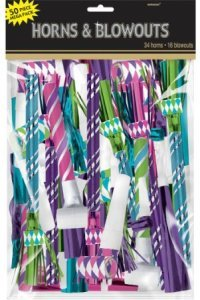 New Year's Eve Party Noise Makers Assorted colors blue, Magenta, Green and Purple