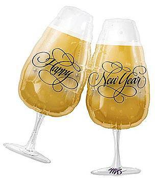New Year's Toasting Glasses Mylar Balloon