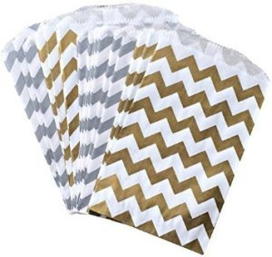 Silver and Gold Chevron Treat Sacks