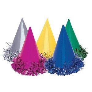 Unique Fringed Foil Party Hats, 6 Count