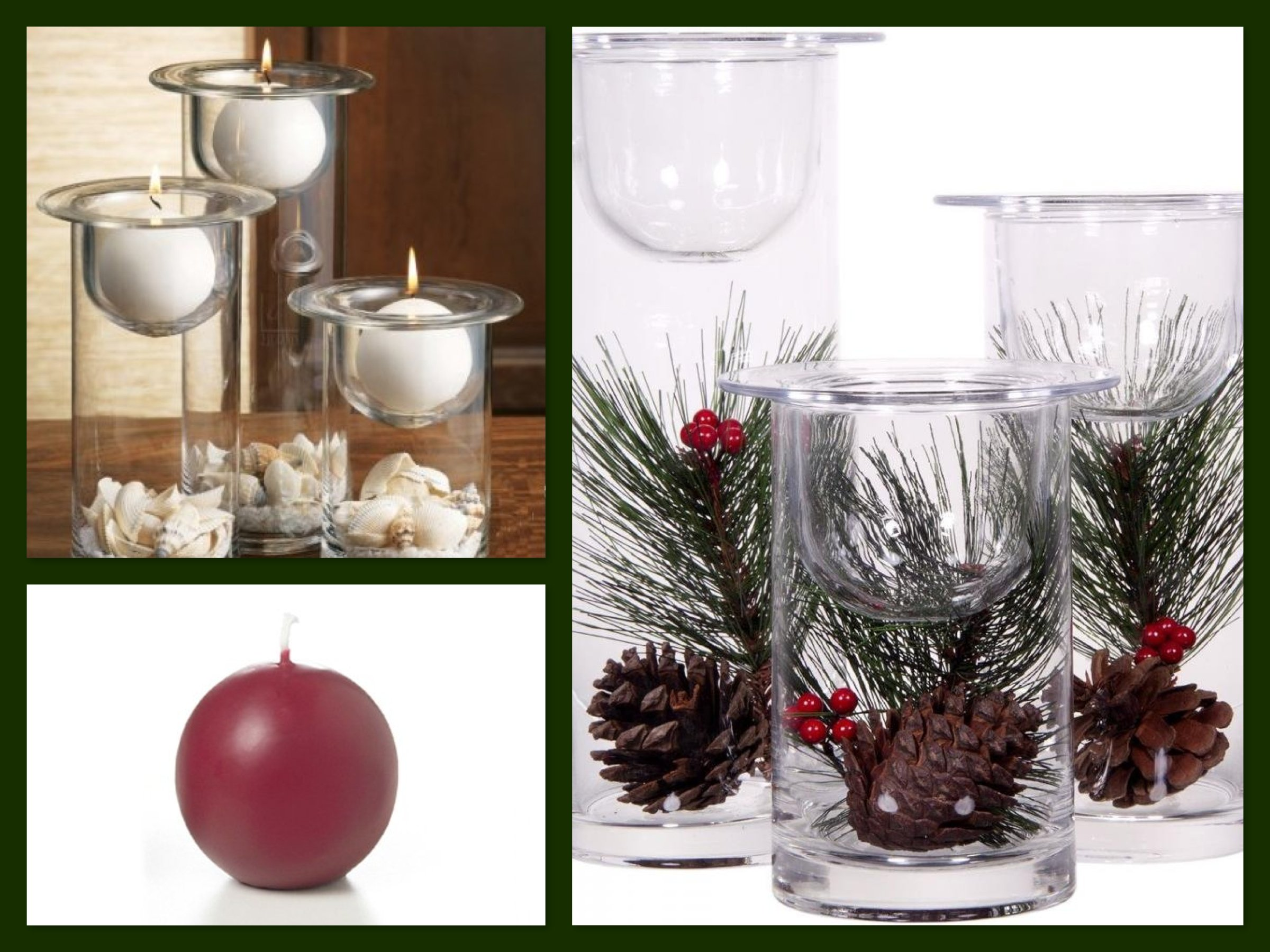 christmas centerpiece ideas glass hurricanes candle holders filled with holiday flowers - Christmas Candle Holders Decorations