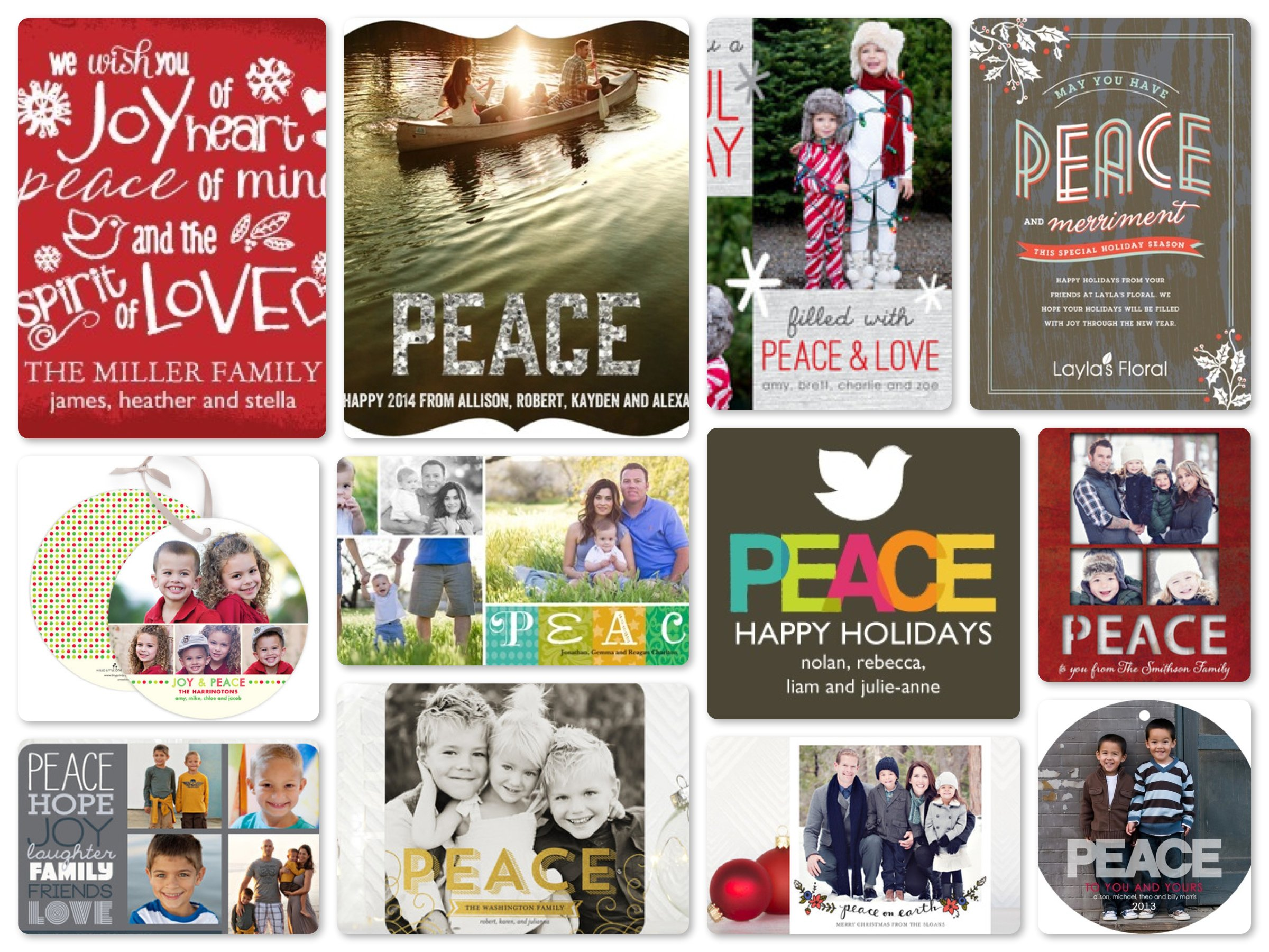 Peace  New Year Cards, Season Greetings Cards, Holiday Cards