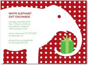 White Elephant Gift Exchange Party Invitations