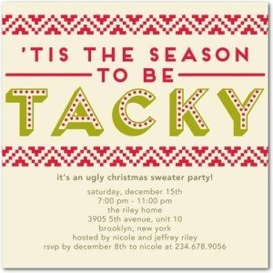 tis tacky holiday ugly sweater party invitations