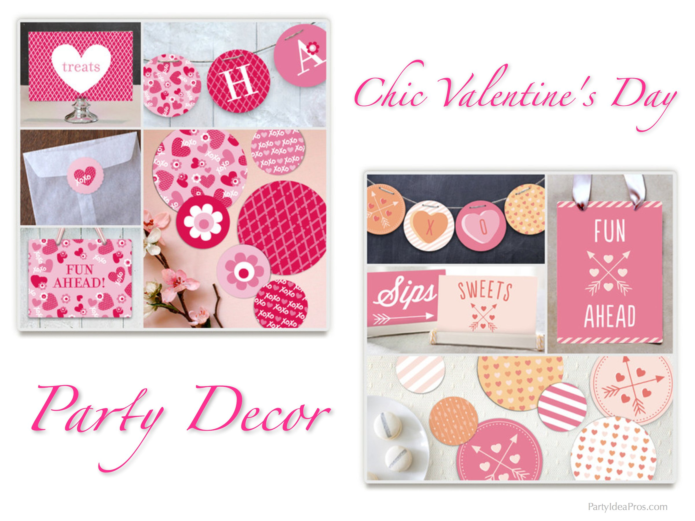 Chic Valentines Day Party Decor, Valentine's Day Party Plates & Chic Heart Theme Party Decor