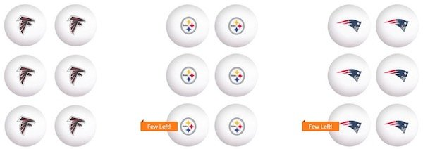 NFL and NCAA Table Tennis Ping Pong Balls