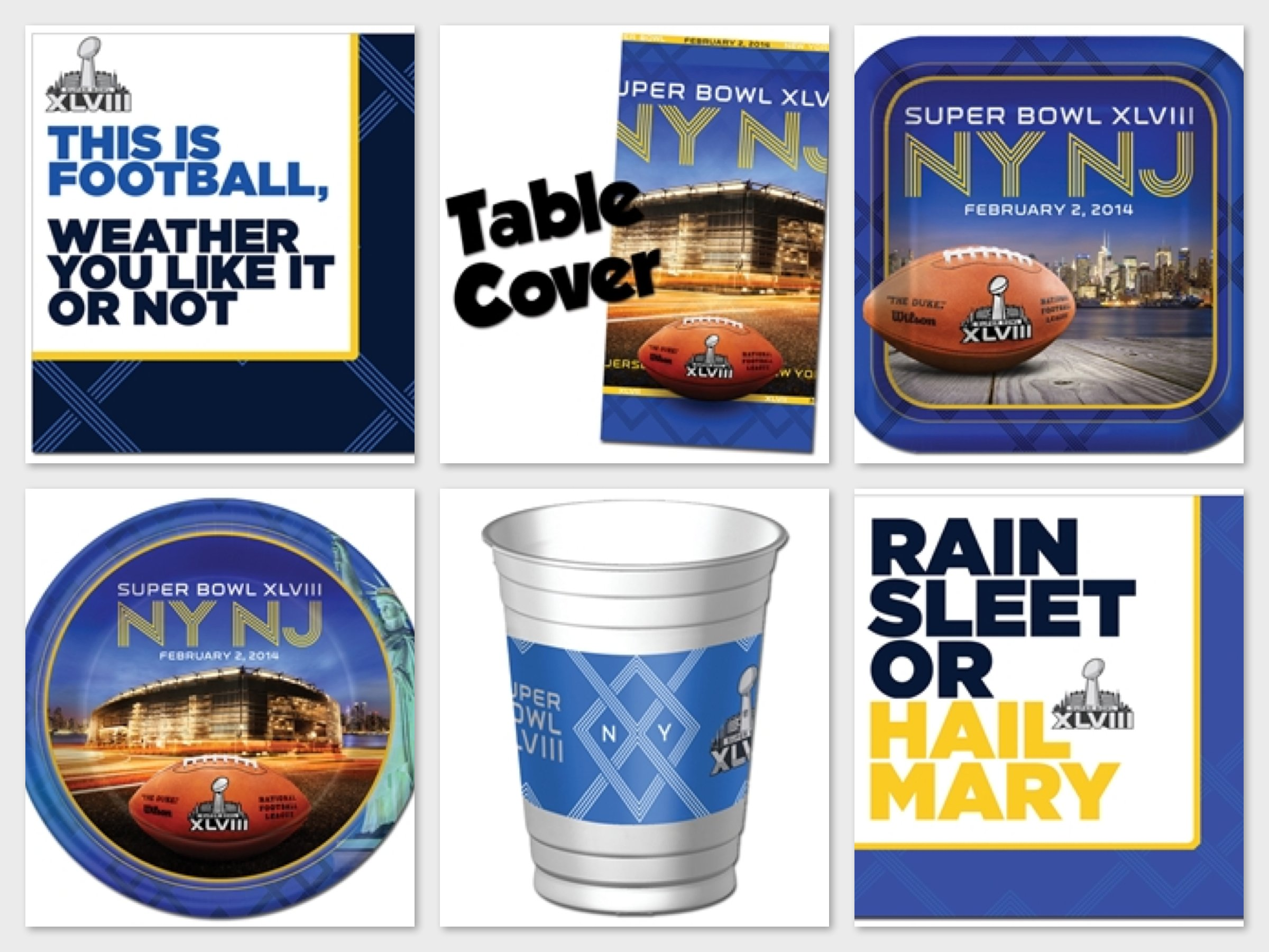 Super Bowl XLVIII (2014) Party Plates, Napkins, Cups, & Table Covers