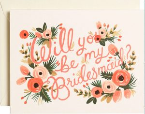 Will You Be My Bridesmaid Floral Stationery