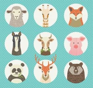 Animal Portraits Baby Quilt
