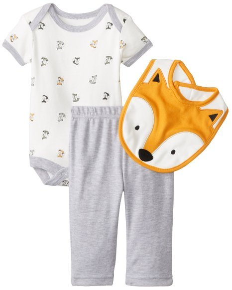 Baby Baby-Boys Newborn Fox 3 Piece Pant Set with Bodysuit and Bib