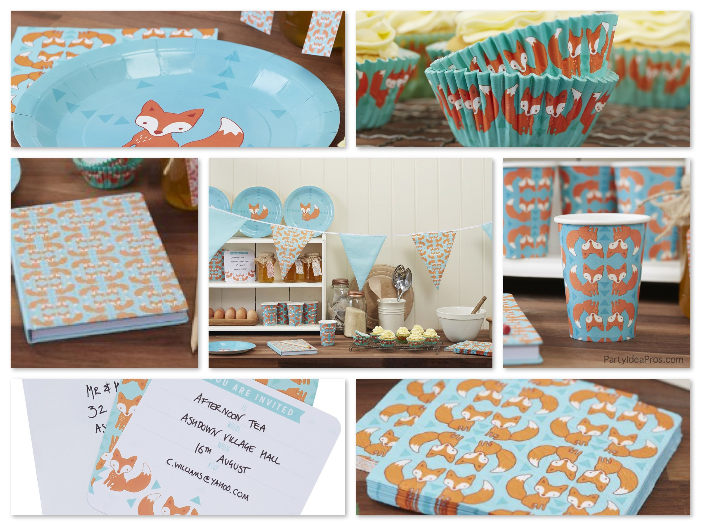 Ginger ray fox theme party supplies baby showers for Baby party decoration