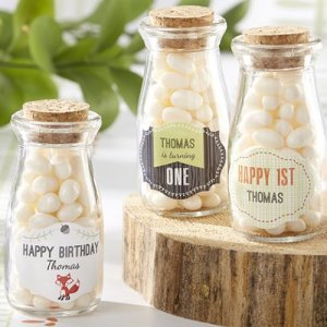Personalized Birthday Vintage Milk Favor Jars with Fox