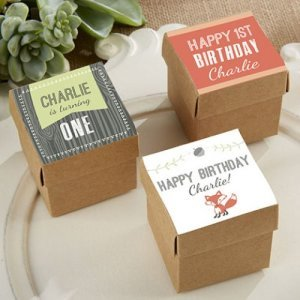 Square Favor Boxes with Fox Labels