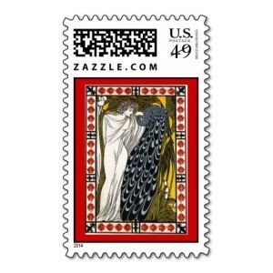 greek in toga peafowl peacock postage stamp