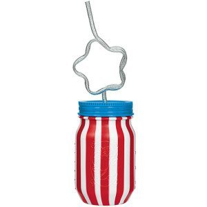 Patriotic Mason Jar with Krazy Straw