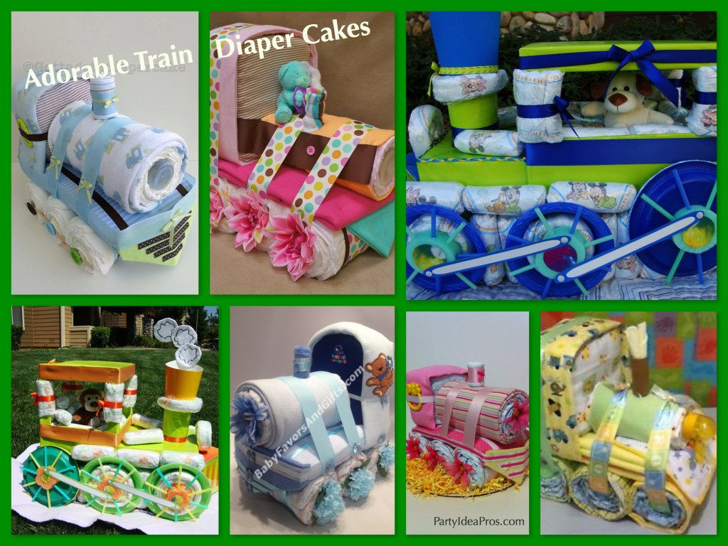 Train Theme Baby Shower Centerpiece & Gift Ideas - Train Diaper Cakes,