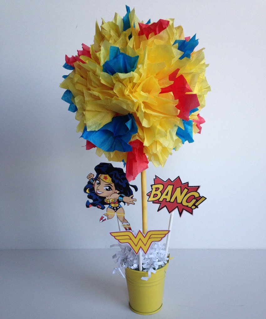 Wonder Woman Topiary Centerpiece