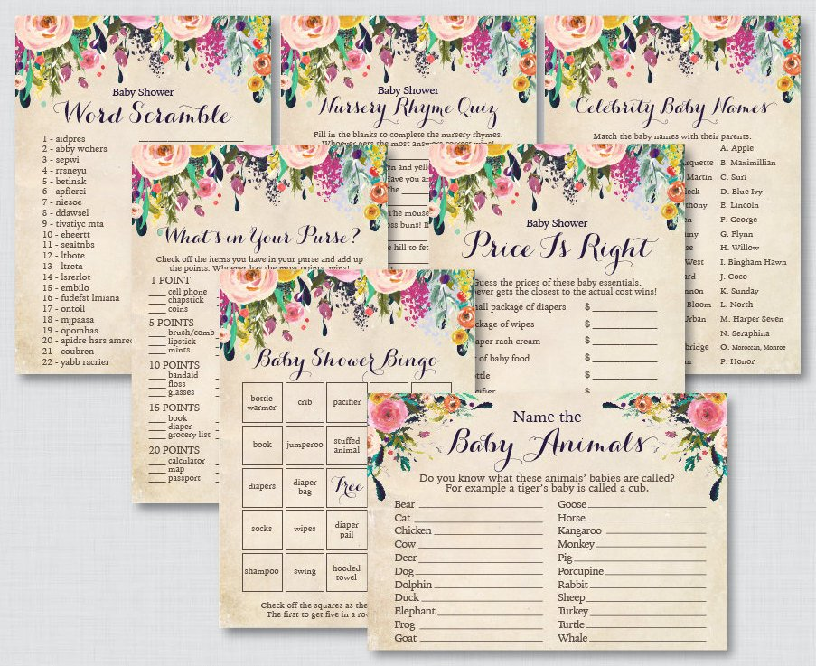 Floral Baby Shower Games Package