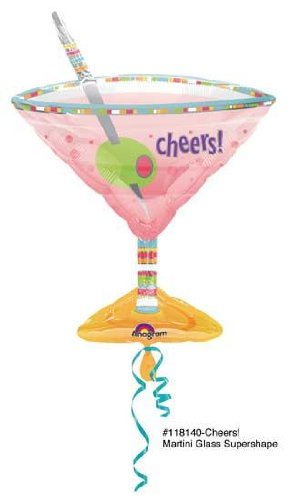 Olives Martini Glass Mylar Balloon