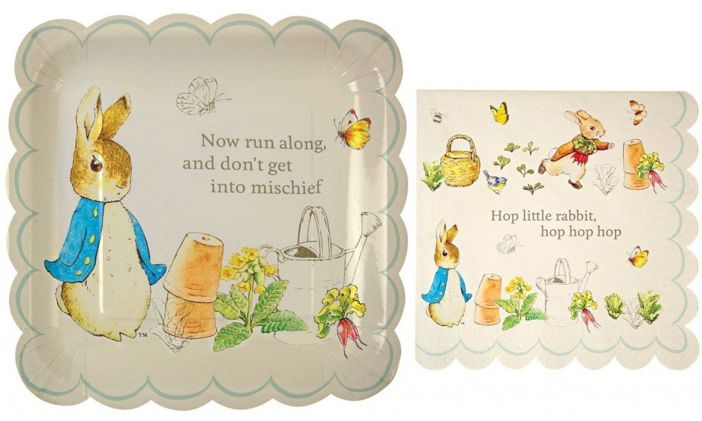 Peter Rabbit Large Square Party Plates and Napkins