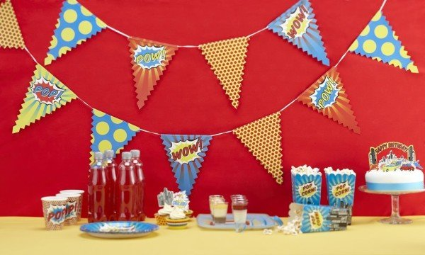 Pop Art Superhero Party Banner