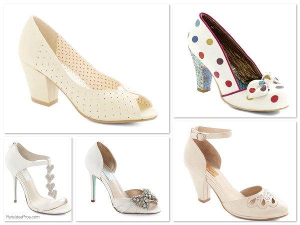 Vintage Inspired White & Cream Heels