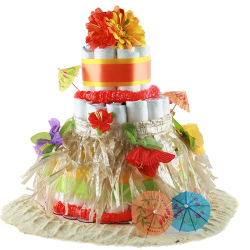 ALOHA BABY Diaper Cake Surf Theme Baby Shower Centerpiece