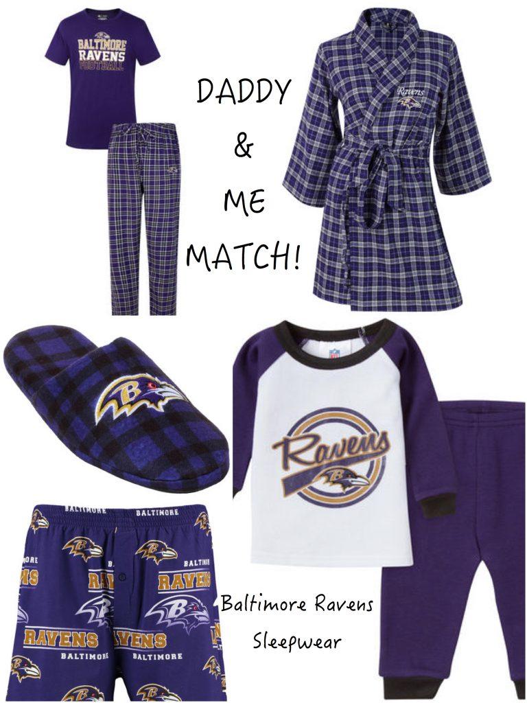Daddy and Me Matching Baltimore Ravens Sports Fan Sleepwear