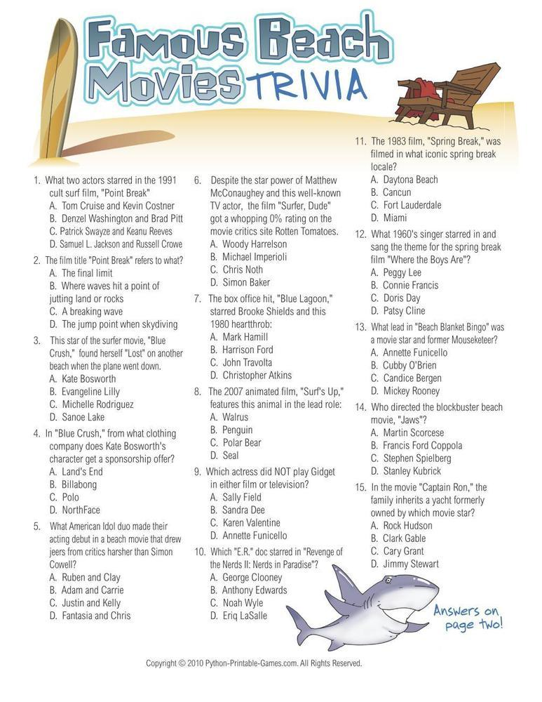 Famous Beach Movies Trivia Printable Games