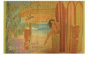 Hawaiian Bamboo Placemat - Kona Surfboard Rental