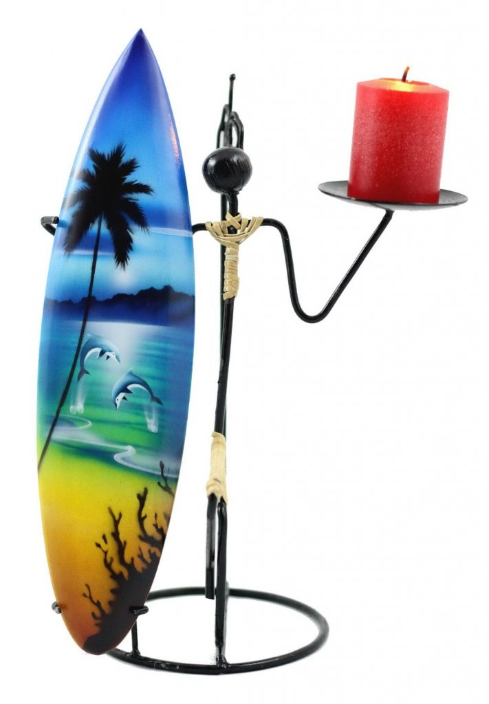 Metal Surfer Candle Holder