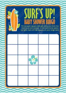 Surfer Baby Shower Bingo Game