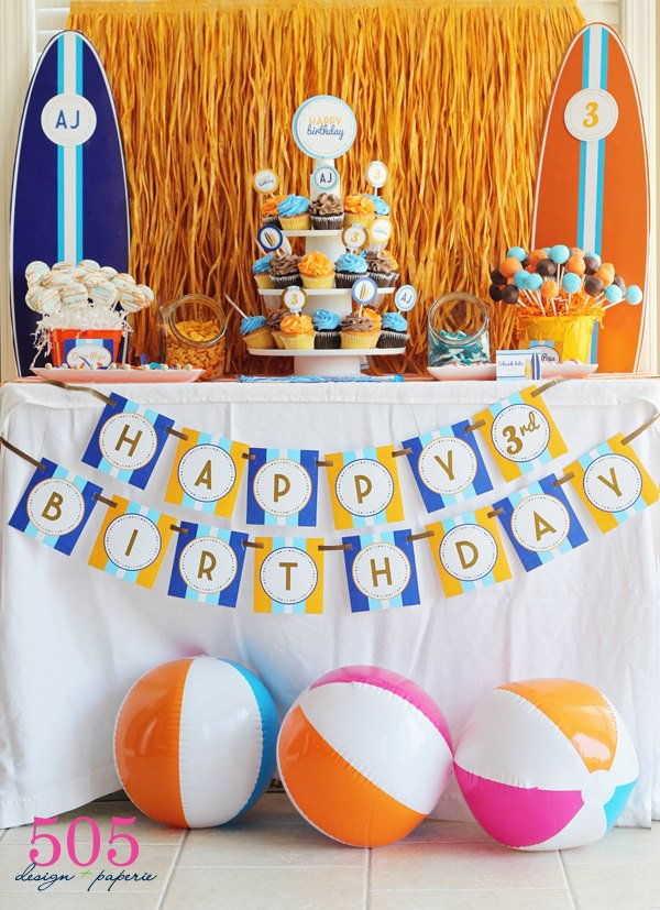 Surfs Up Decorations Printable Party Package
