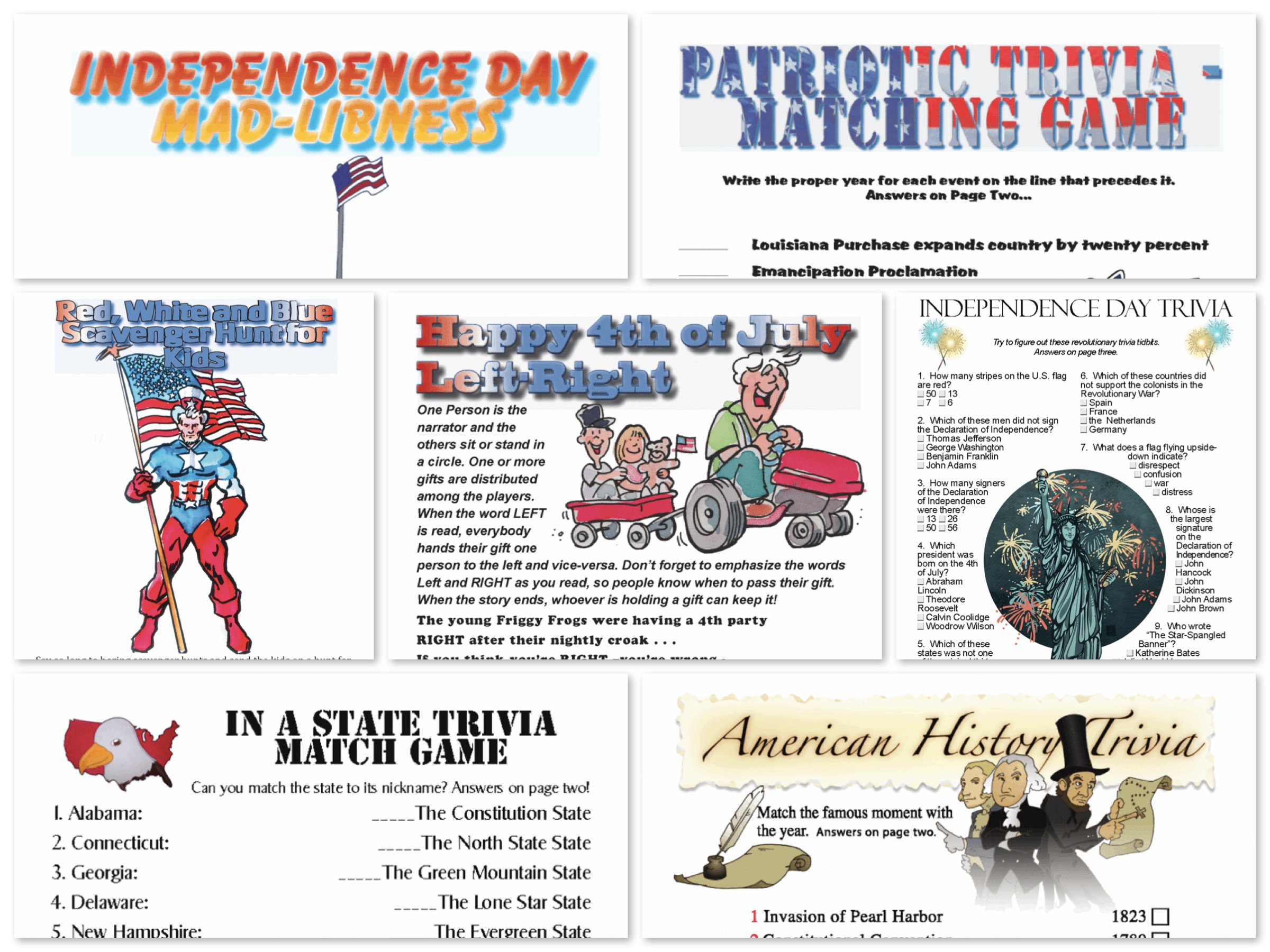 Printable July 4th Independence Day Games