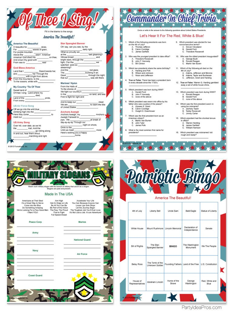 4th of july games trivia game printable