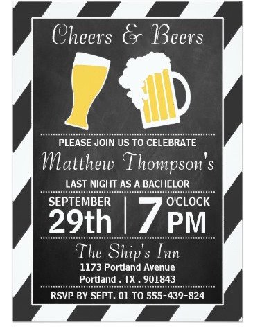 cheers beers chalkboard bachelor party invitation