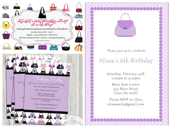 Printable Purse Party Invitations