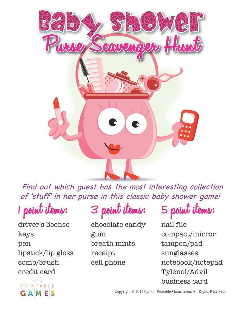 Purse Scavenger Hunt Printable Game