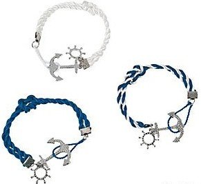 3 Nautical Knot Bracelets:Anchor Bracelets:Party Favors