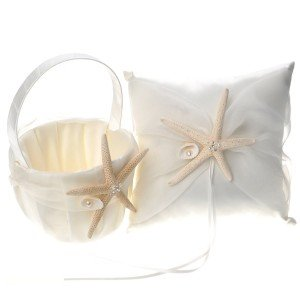 Beach Theme Satin Wedding Accessory Set Flower Girl Basket and Ring Pillow with Starfish, Ivory