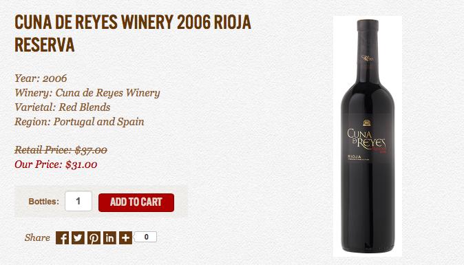 CUNA DE REYES WINERY 2006 RIOJA RESERVA, Portuguese Wines